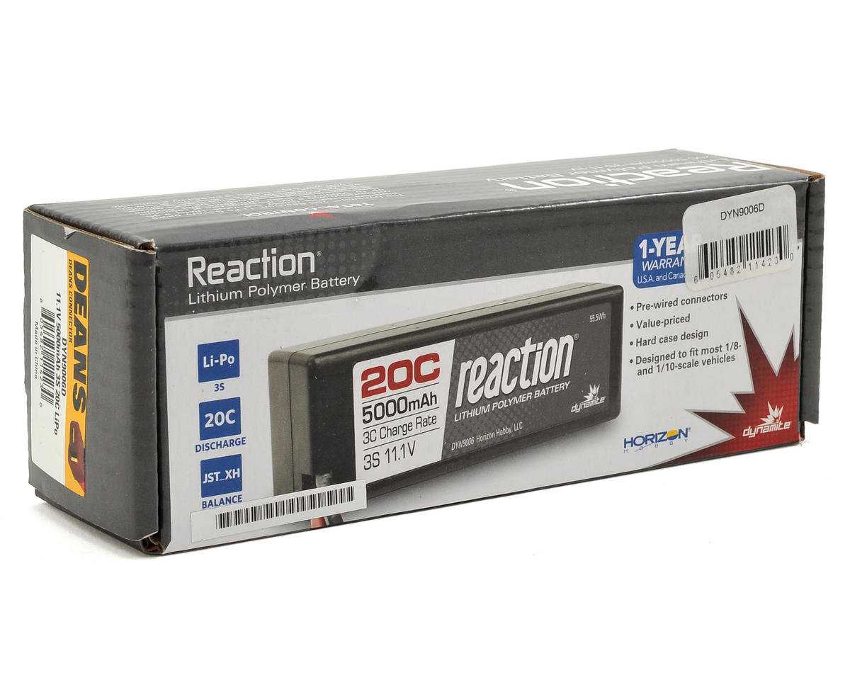 Dynamite Reaction 3S 20C Hard Case LiPo Battery w/Deans Plug (11.1V/5000mAh)