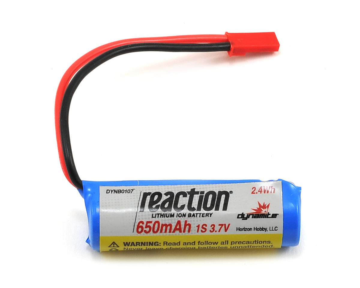 Dynamite 1S Li-Ion Battery Pack w/JST Connector (3.7V/650mAh) (Pro Boat React 9)