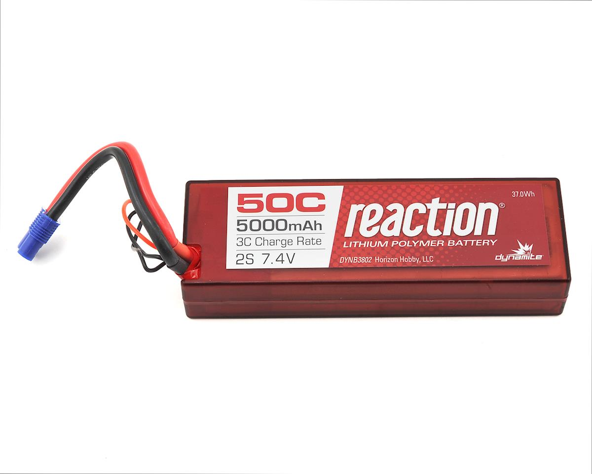 Reaction 2S 20C Hard Case LiPo Battery w/EC3 Connector (7.4V/5000mAh) by Dynamite