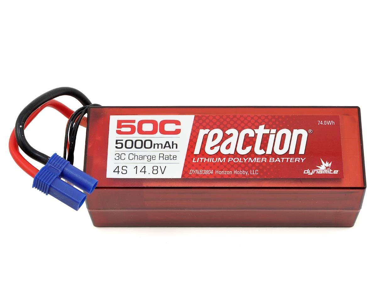 Reaction 4S 50C Hard Case LiPo Battery w/EC5 (14.8V/5000mAh) by Dynamite