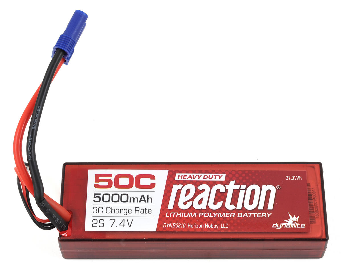 Reaction HD 2S 50C Hard Case LiPo Battery w/EC5 (7.4V/5000mAh) by Dynamite
