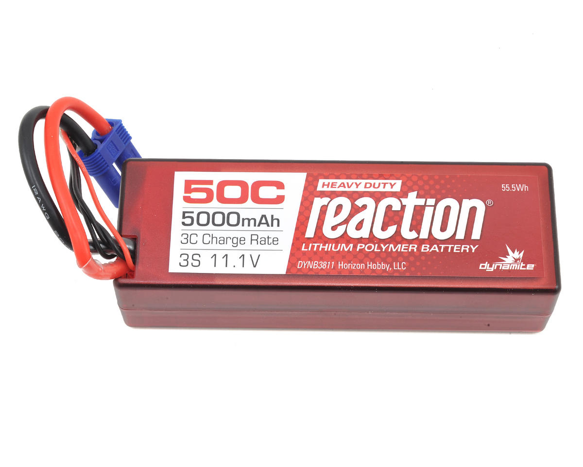 Reaction HD 3S 50C Hard Case LiPo Battery w/EC5 (11.1V/5000mAh) by Dynamite