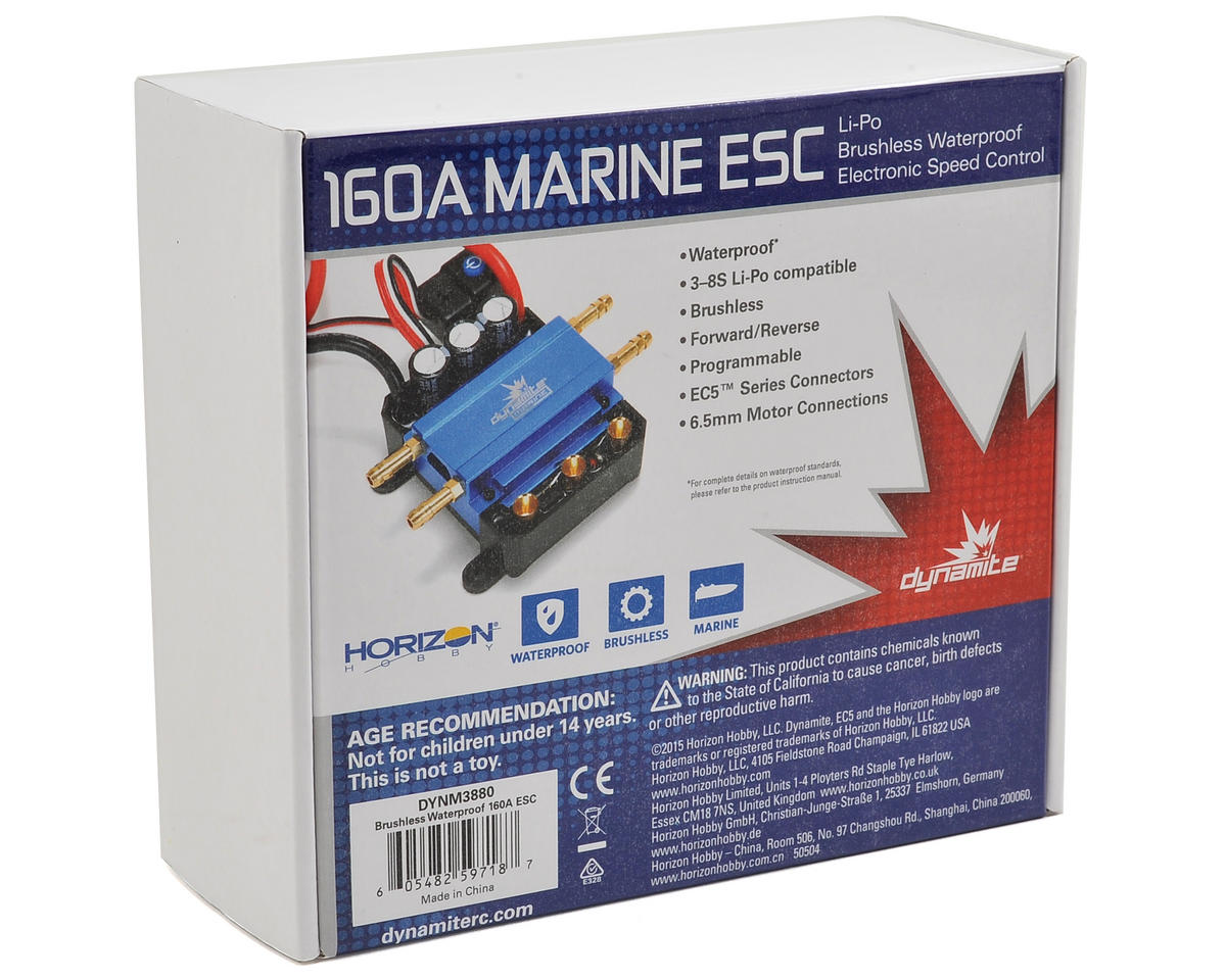 Dynamite 160A Brushless Waterproof Marine ESC (3-8S)