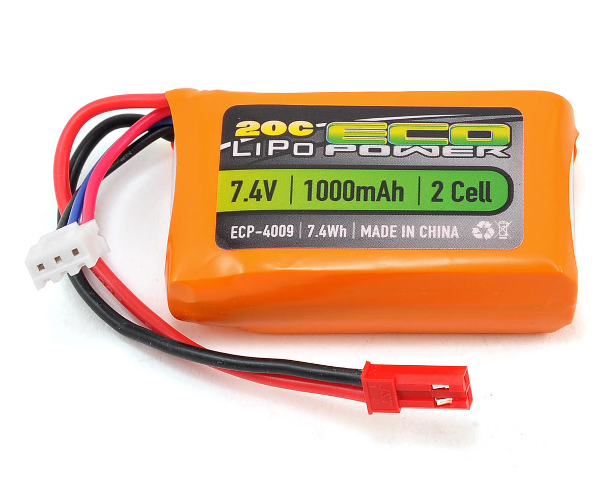"""Electron"" 2S LiPo 20C Battery Pack (7.4V/1000mAh) by EcoPower"
