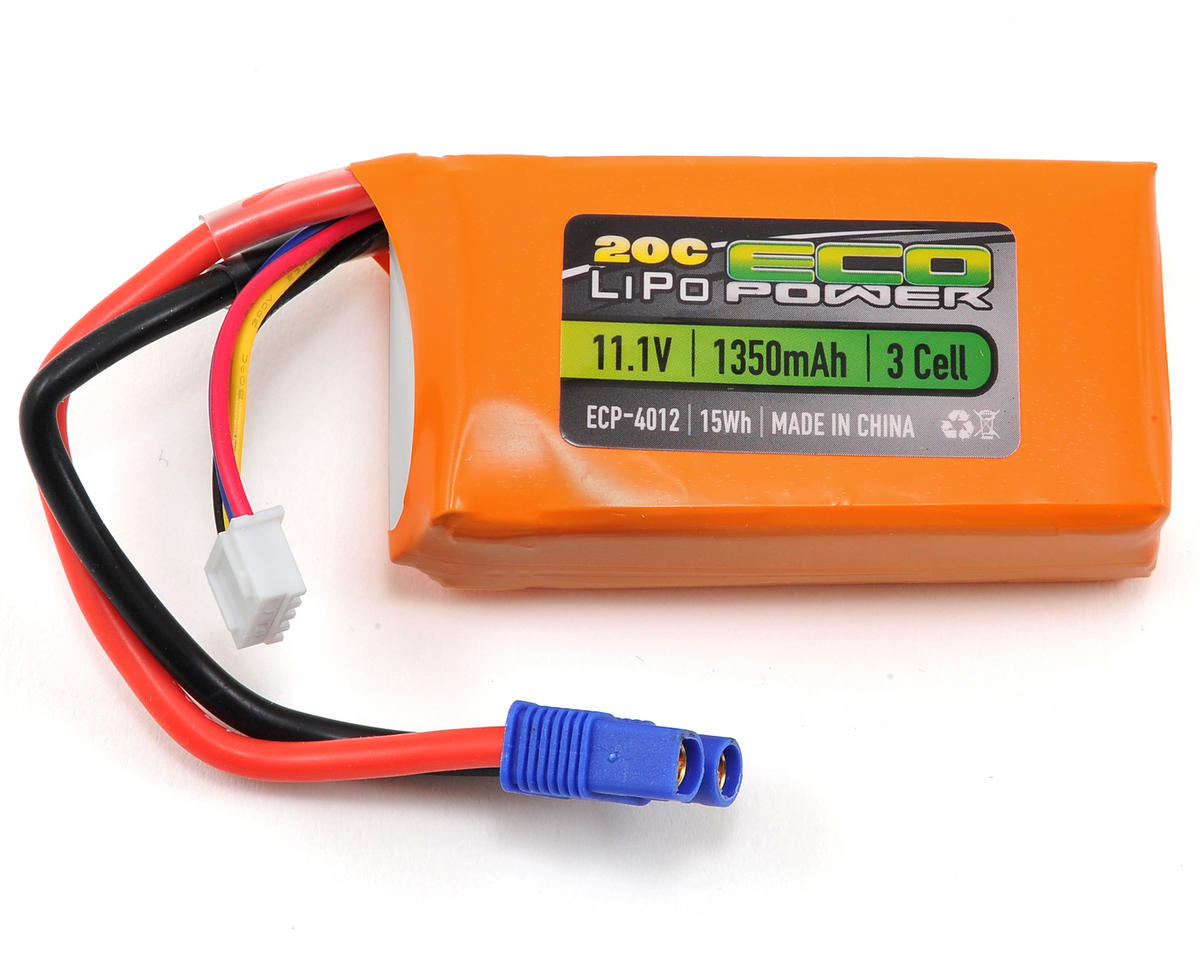 "EcoPower ""Electron"" 3S LiPo 20C Battery Pack w/EC3 Connector (11.1V/1350mAh) (ParkZone Radian)"