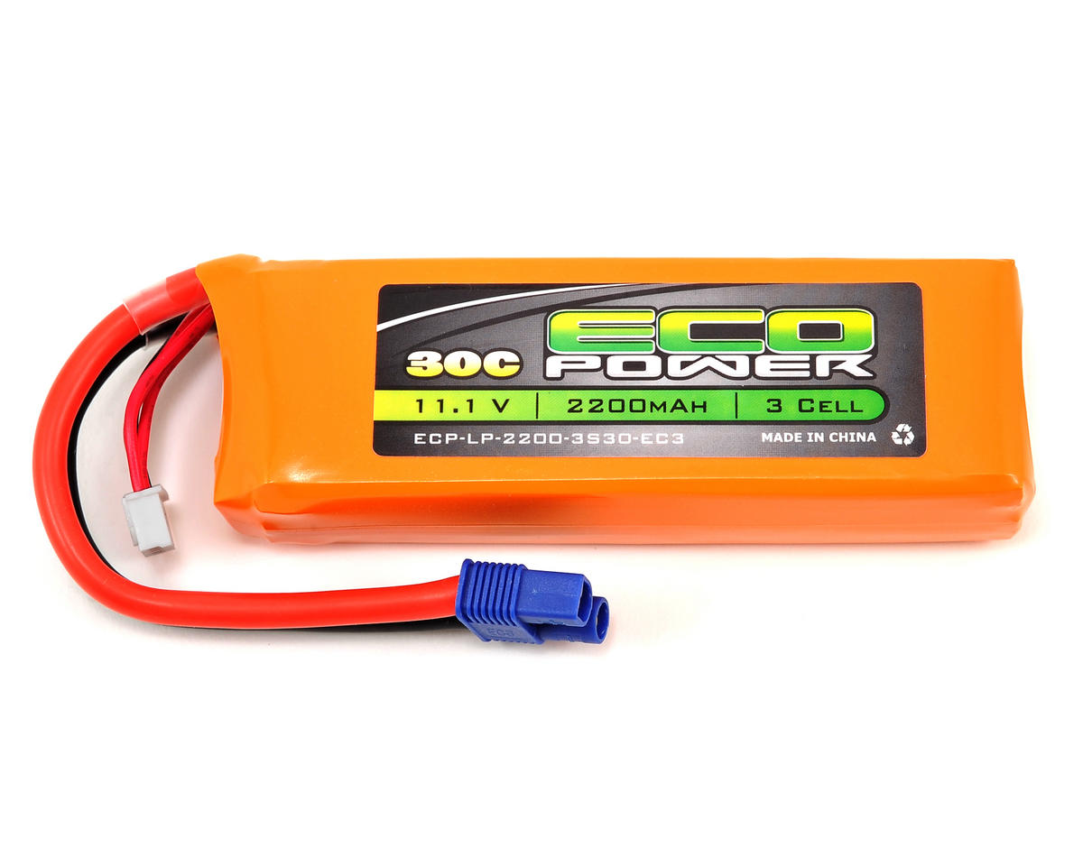 "EcoPower ""Electron"" 3S LiPo 30C Battery Pack w/EC3 Connector (11.1V/2200mAh) (Blade 450 3D)"