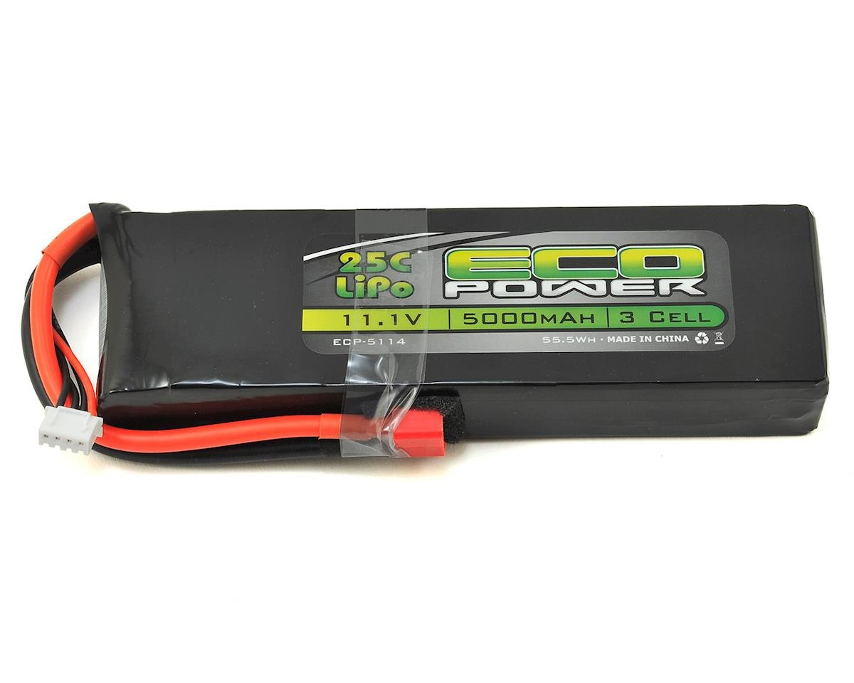 "EcoPower ""Electron"" 3S LiPo 25C Battery Pack w/T-Style Connector (11.1V/5000mAh)"