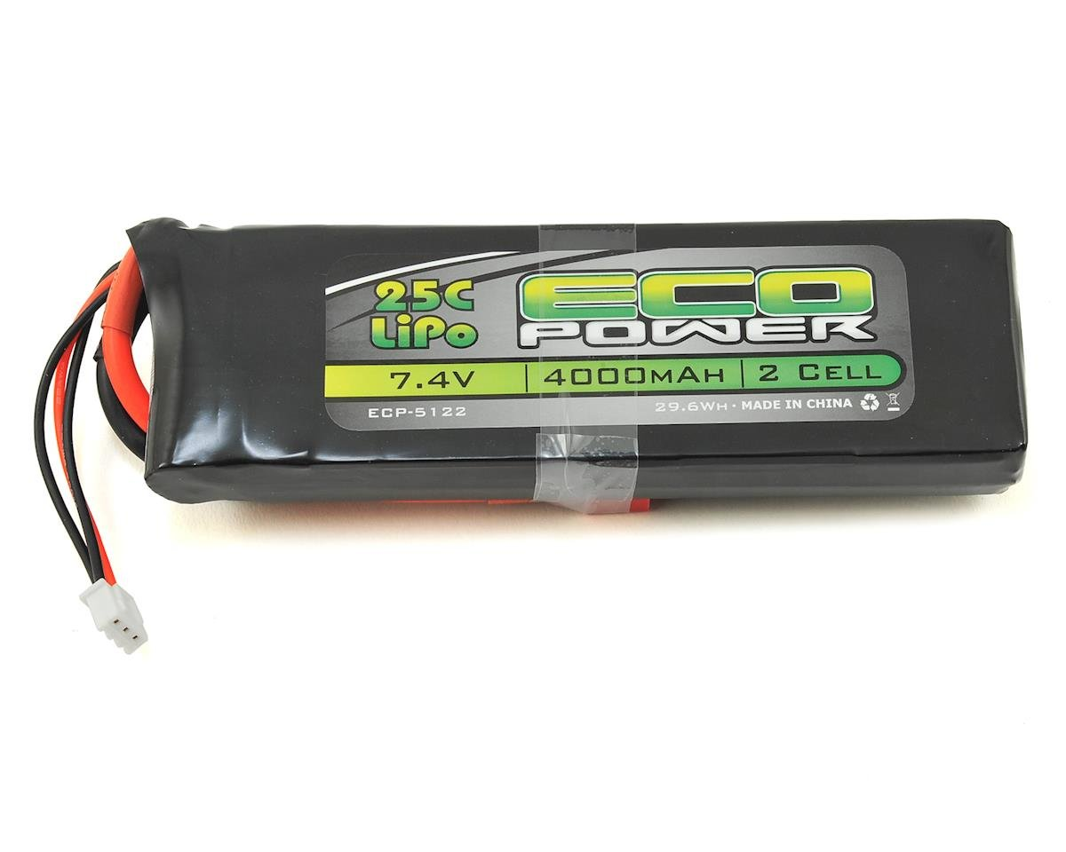 "EcoPower ""Electron"" 2S LiPo 25C Battery Pack w/T-Style Connector (7.4V/4000mAh) (Helion Dominus 10SC)"