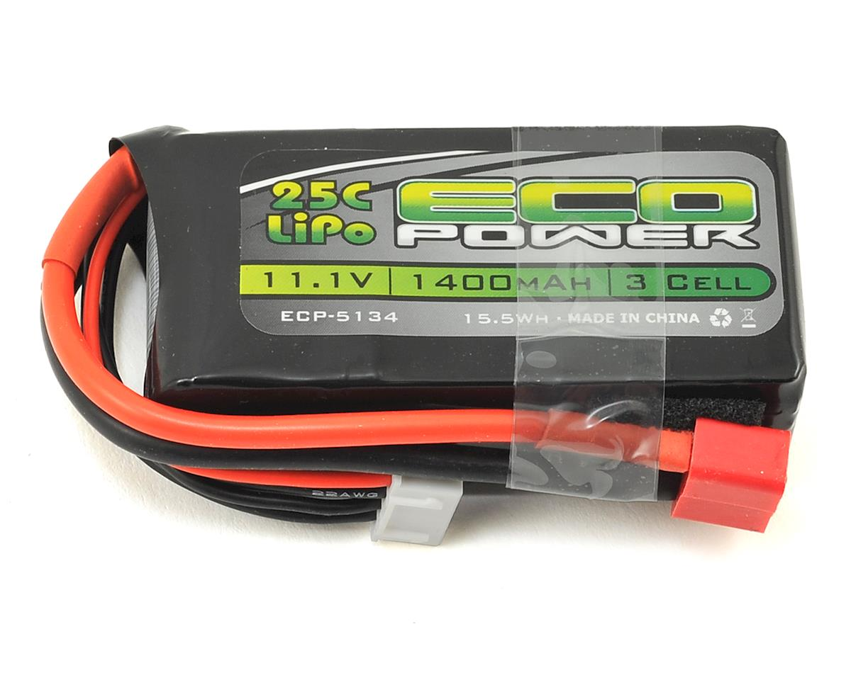 "EcoPower ""Electron"" 3S LiPo 25C Battery Pack w/T-Style Connector (11.1V/1400mAh)"