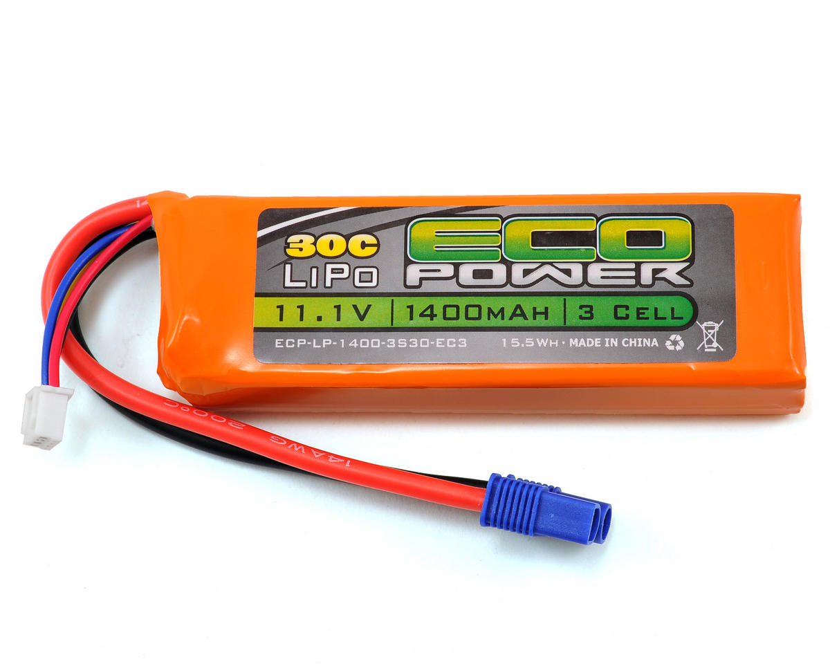 "EcoPower ""Electron"" 3S LiPo 30C Battery Pack (11.1V/1400mAh)"