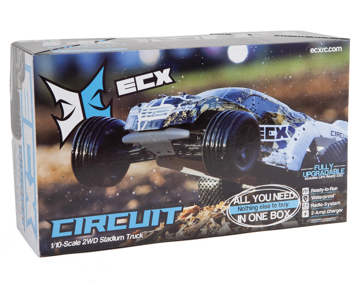 ECX RC Circuit 1/10th Stadium Truck RTR w/DX2E 2.4GHz Radio (Black/Silver)