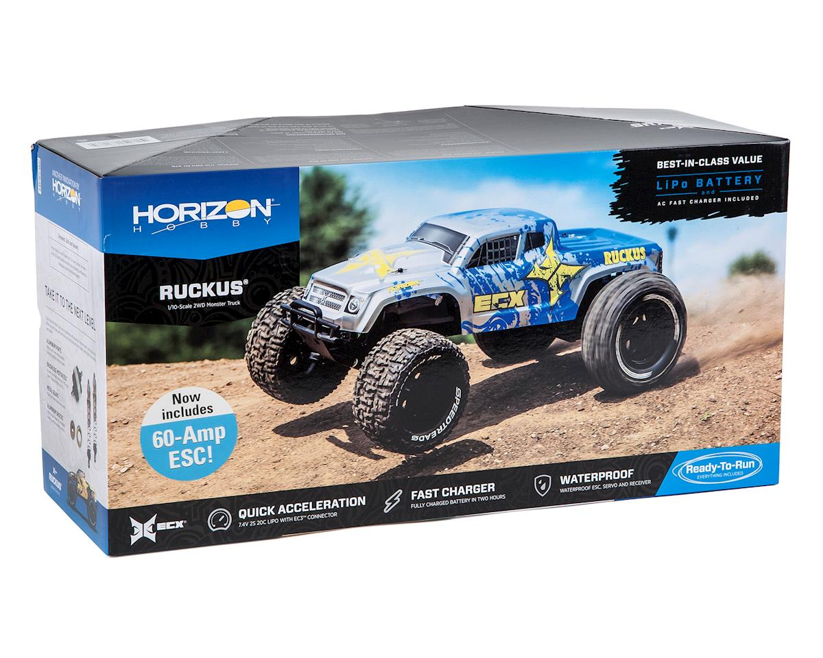 ECX Ruckus 1/10 2WD RTR Electric Monster Truck (Silver/Blue)