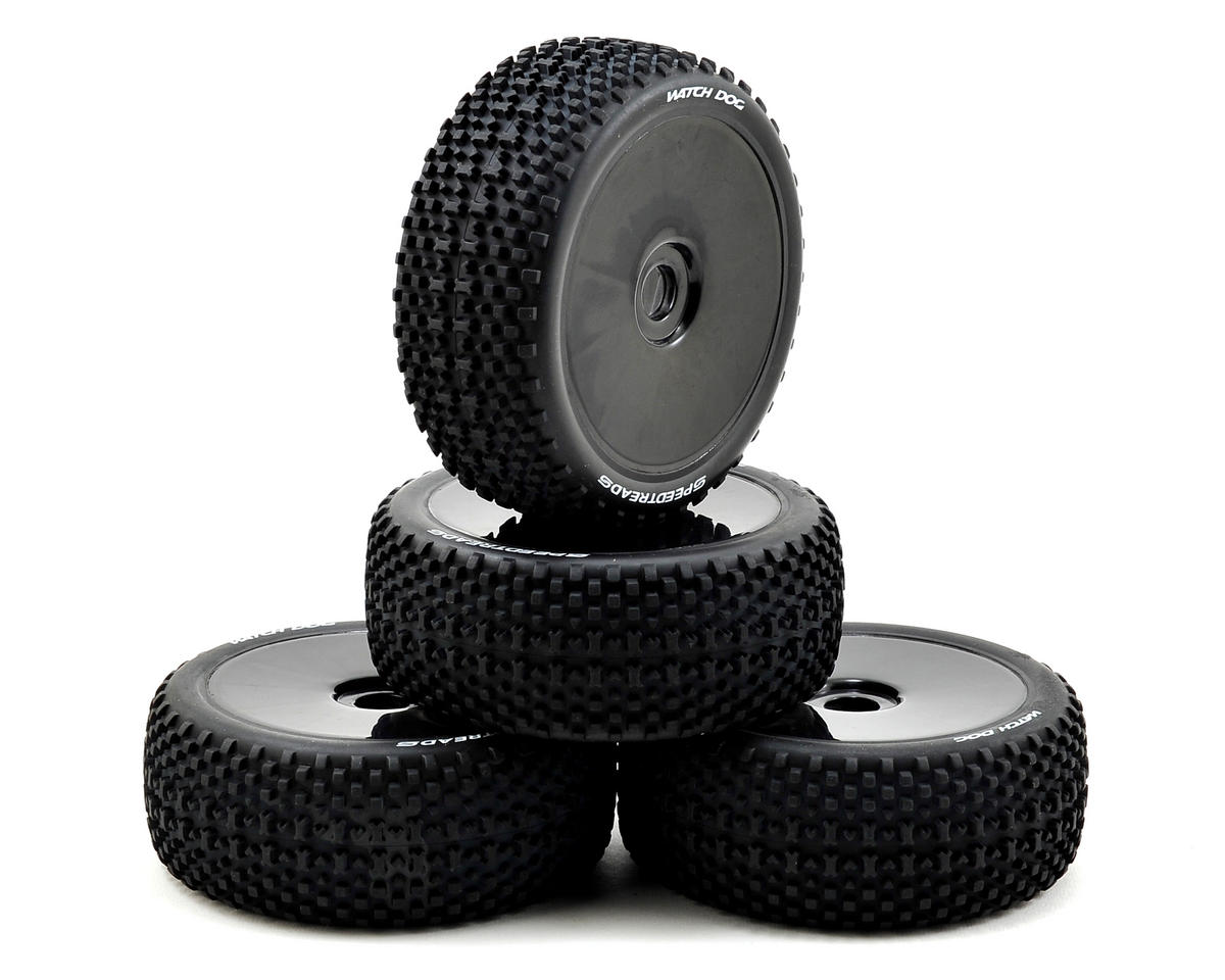 "RC Pre-Mounted ""Watch Dogs"" Spreedtreads Tire (4) (Black) by ECX"