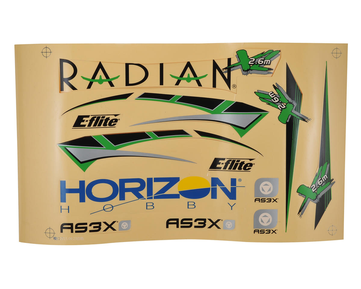 E-flite Radian XL Decal Sheet