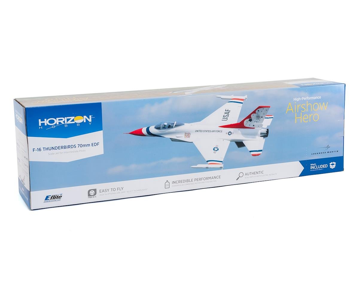 SCRATCH & DENT: E-flite F-16 Thunderbird 70mm BNF Basic Electric Ducted Fan Jet Airplane (815mm)