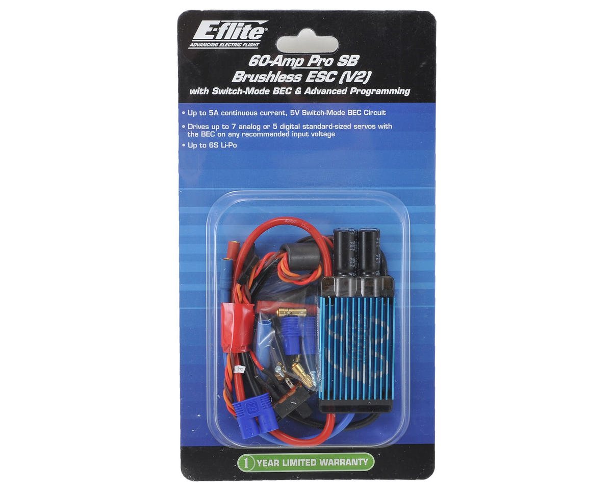 60-Amp Pro Switch-Mode V2 BEC Brushless ESC by E-flite