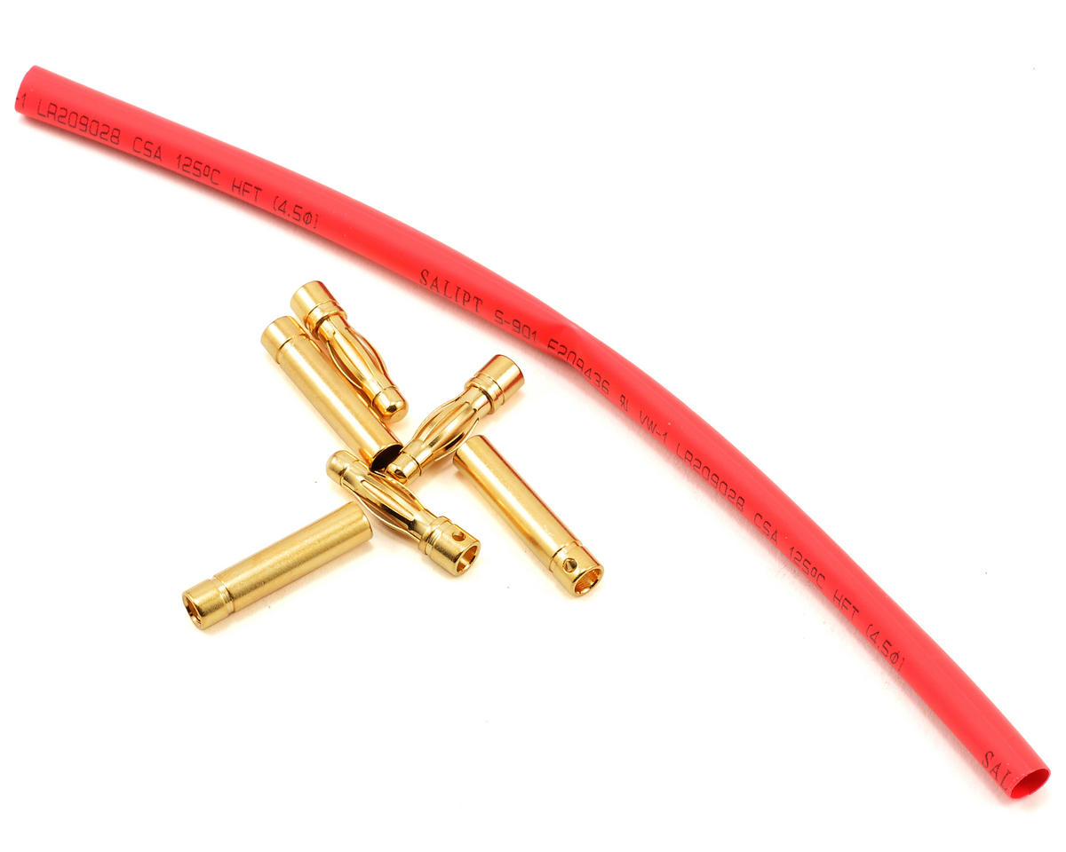 4mm Gold Bullet Connector Set w/Heatshrink (3 Male/3 Female) by E-flite
