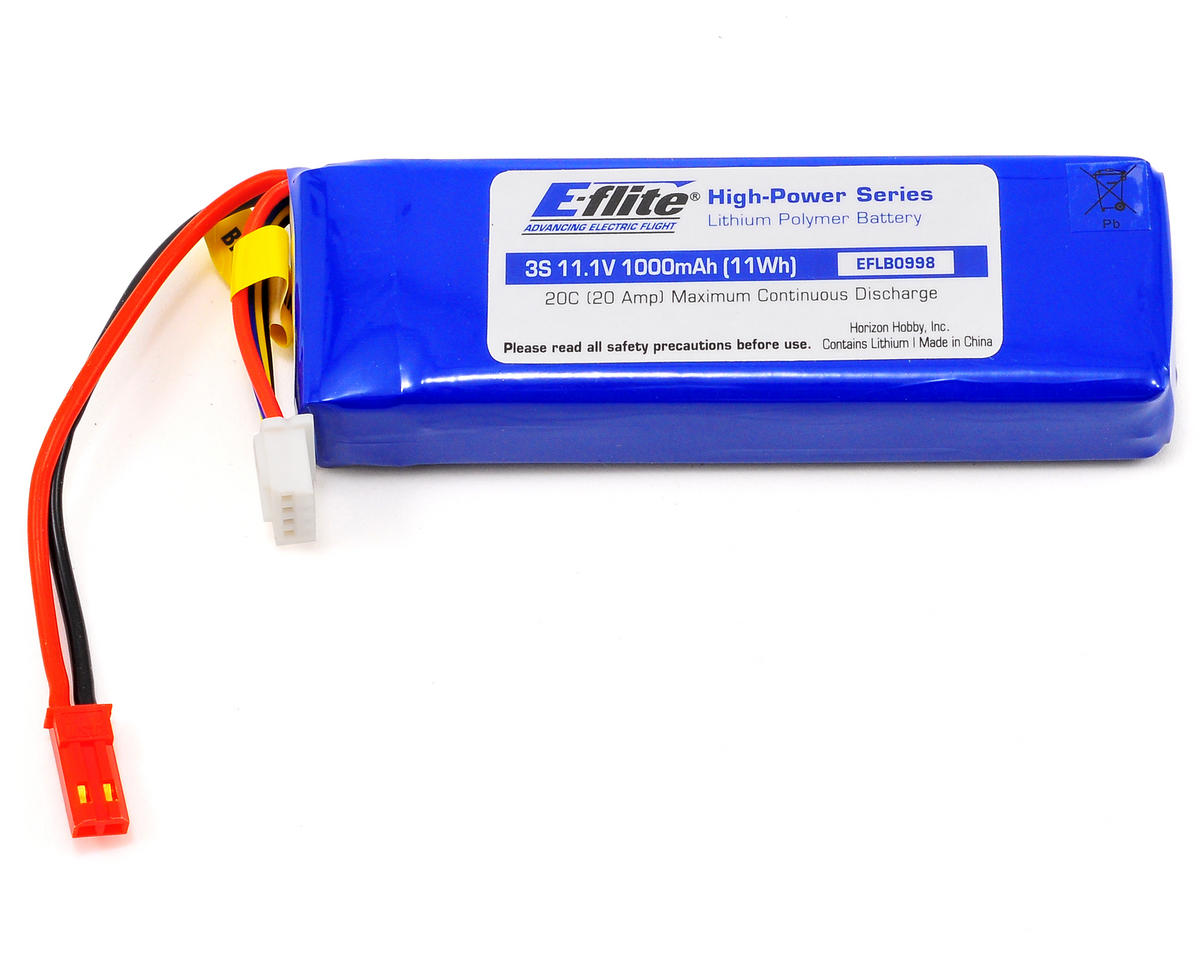 3S LiPo Battery Pack w/JST Connector 20C (11.1V/1000mAh) by E-flite