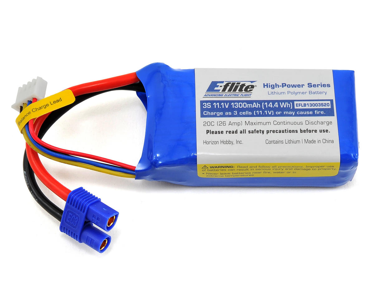 3S LiPo Battery 20C (11.1V/1300mAh) by E-flite