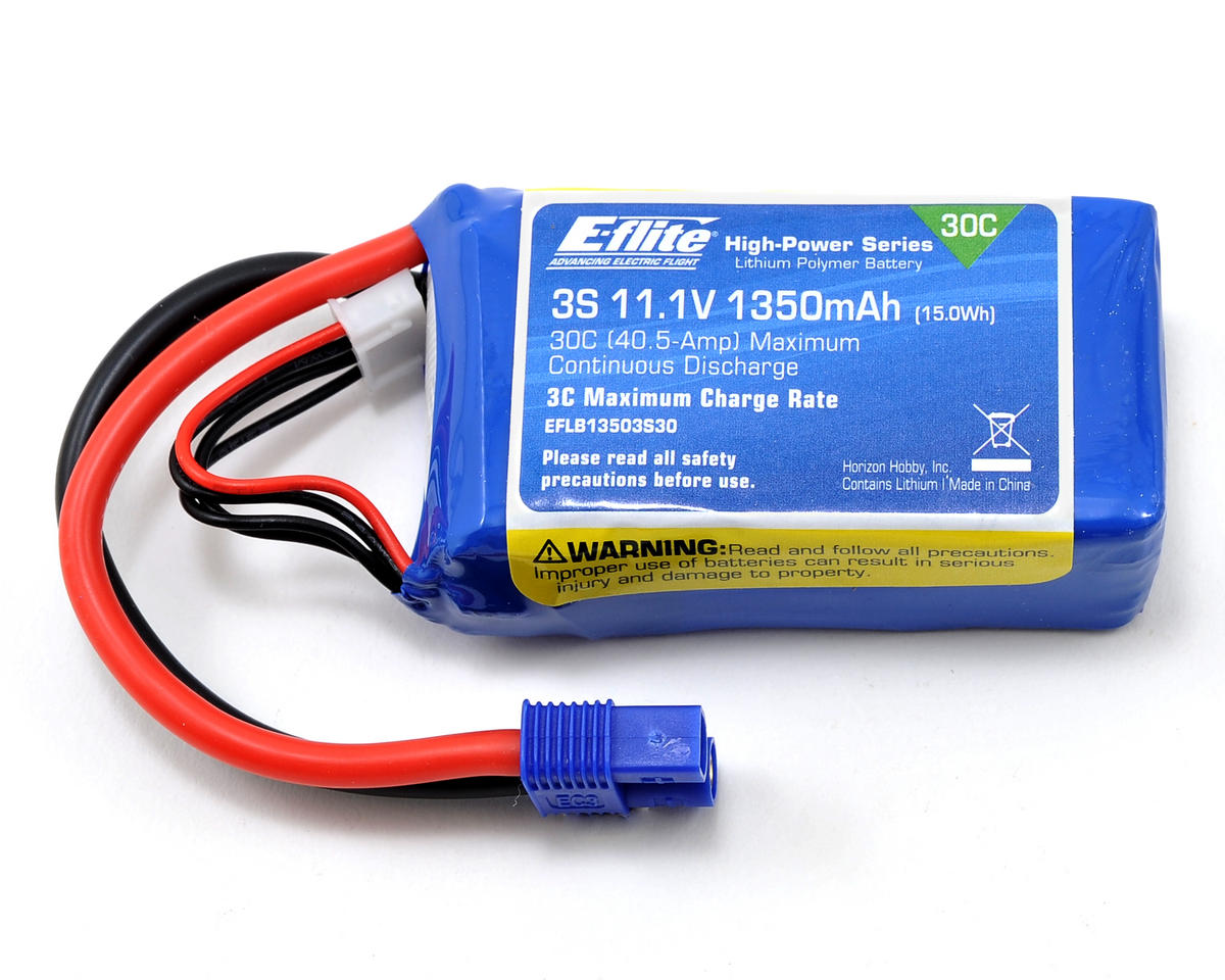 3S LiPo Battery Pack w/EC3 Connector 30C (11.1V/1350mAh) by E-flite (Oxy Heli OXY 3)