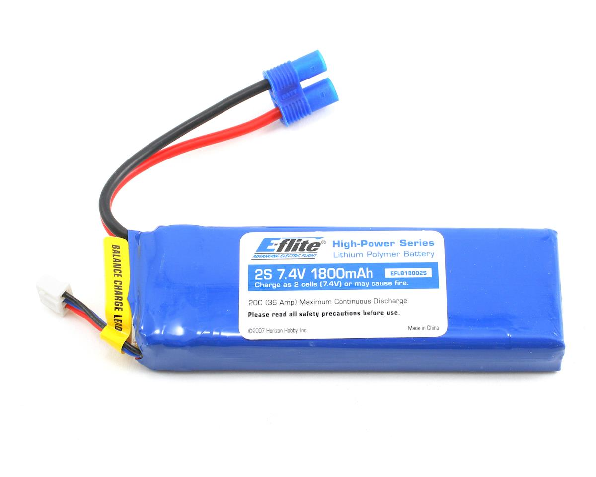 E-flite 2S Li-Poly Battery Pack w/EC3 Connector 20C (7.4V/1800mAh)