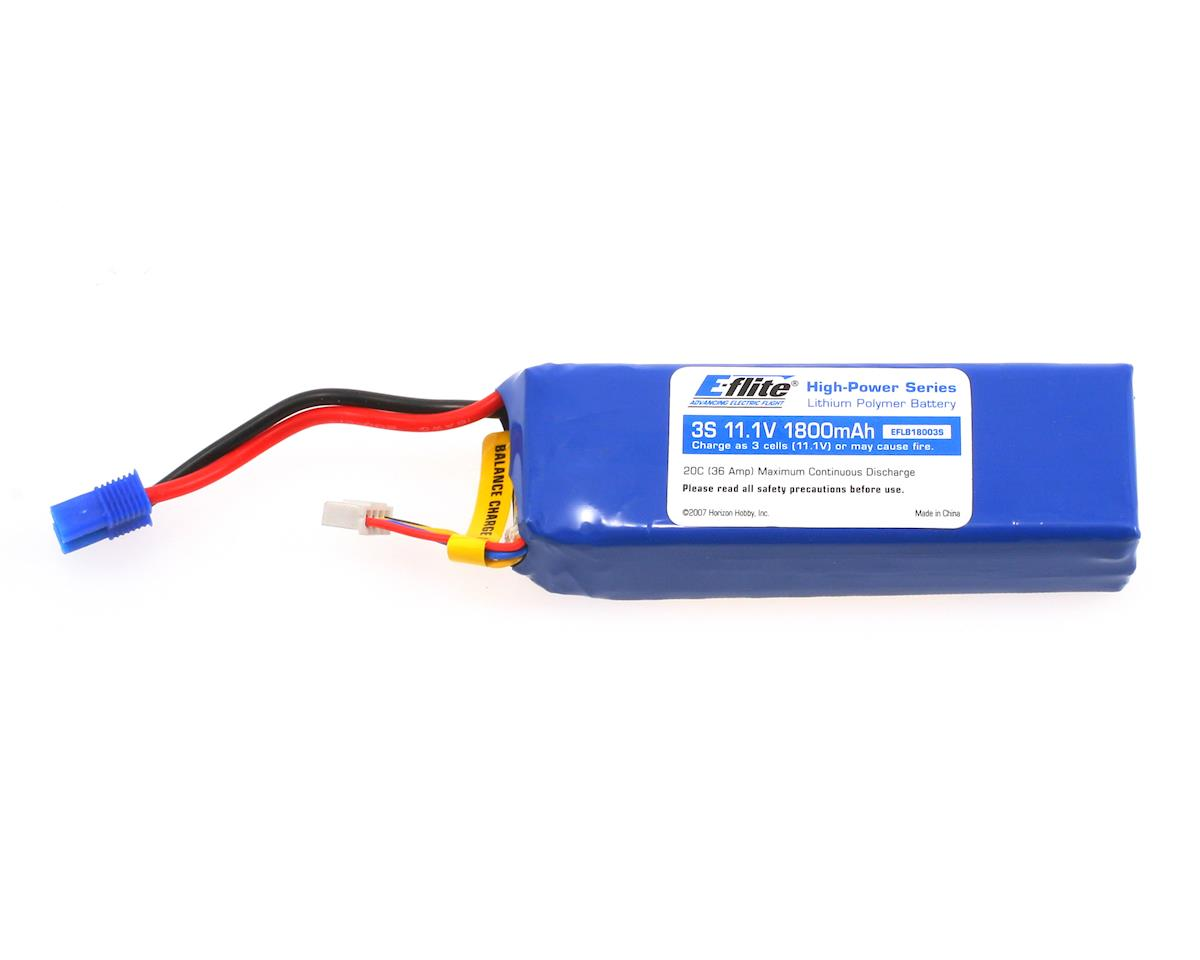 E-flite 3S Li-Poly Battery Pack, EC3 Connector 20C (11.1V/1800mAh)