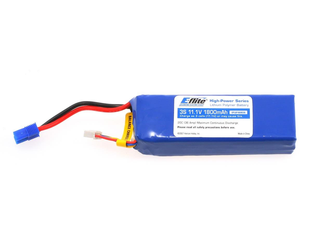 E-flite 3S Li-Poly Battery Pack, EC3 Connector 20C (11.1V/1800mAh) (Align T-Rex 450XL)