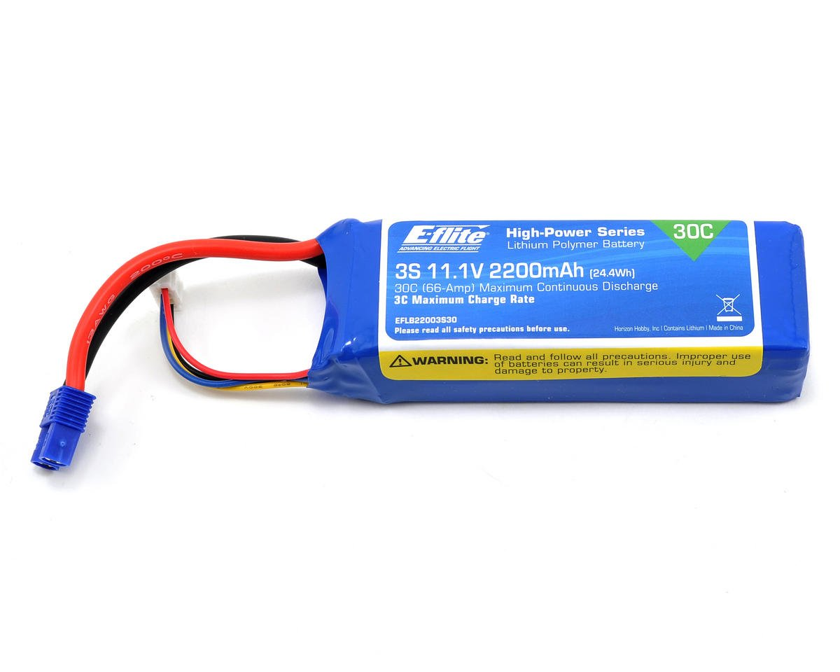 3S LiPo Battery Pack 30C (11.1V/2200mAh) by E-flite Clipped Wing Cub