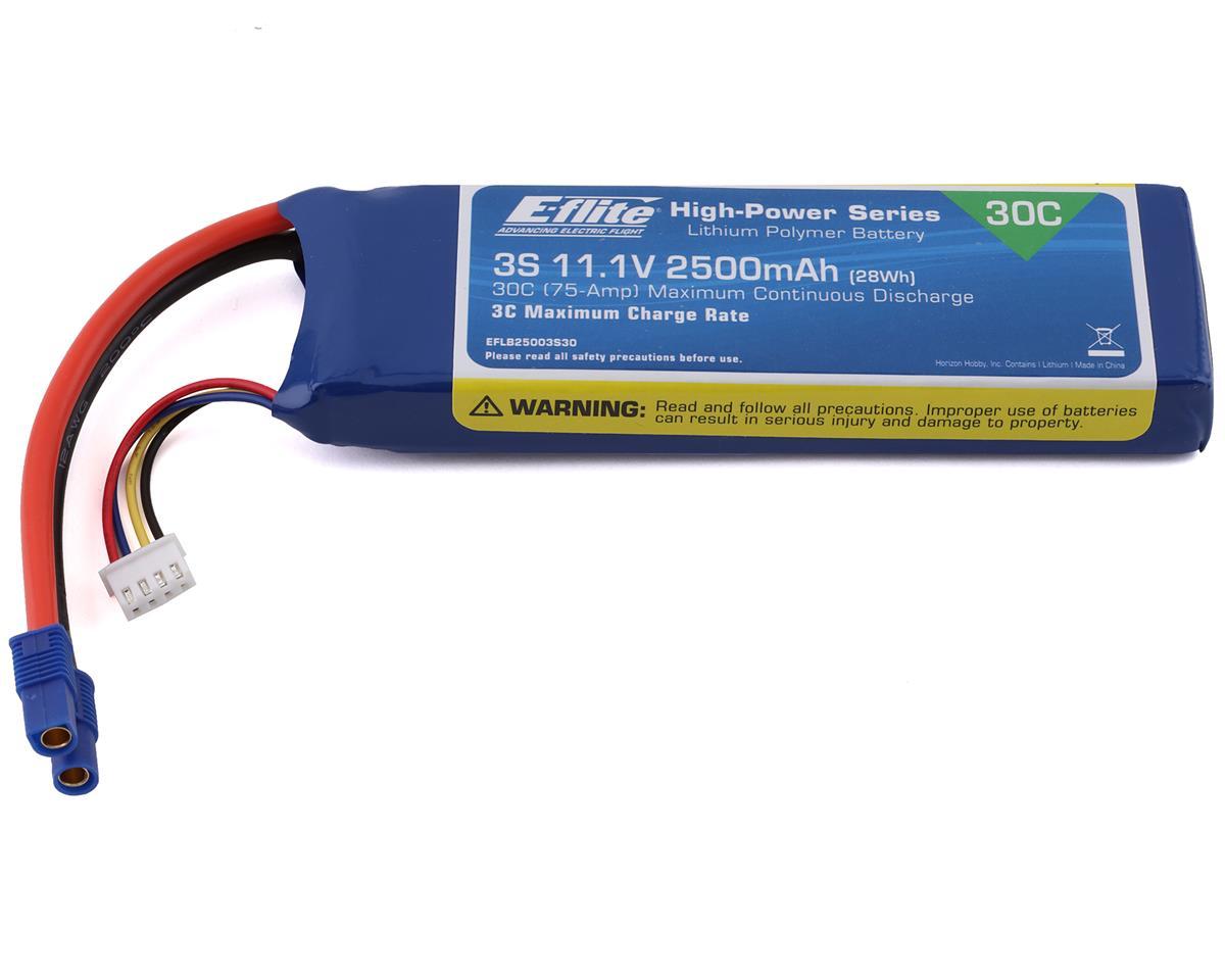 E-flite 2500mAh 3S 11.1V 30C LiPo, 12AWG EC3