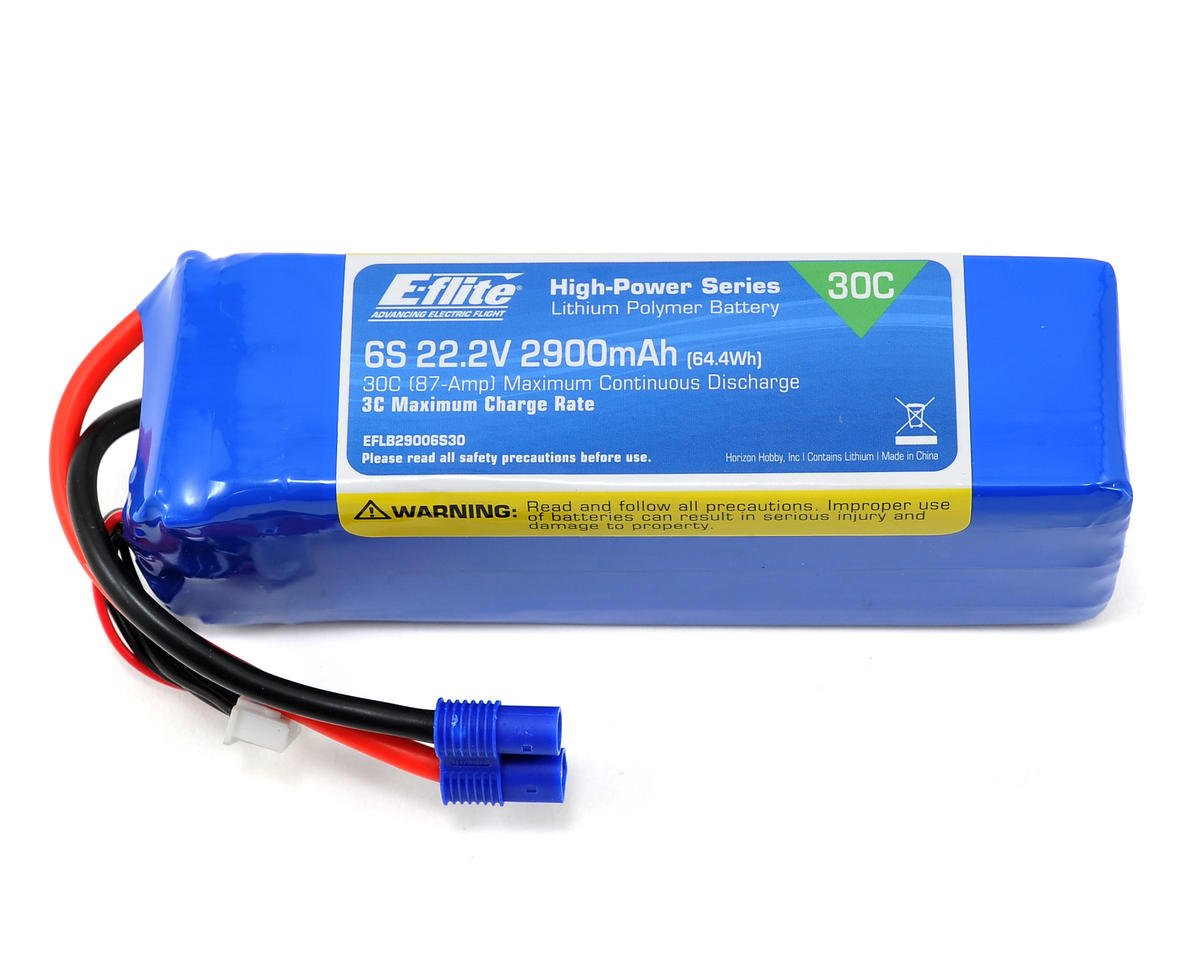 E-flite 6S LiPo Battery Pack w/EC3 Connector 30C (22.2V/2900mAh)