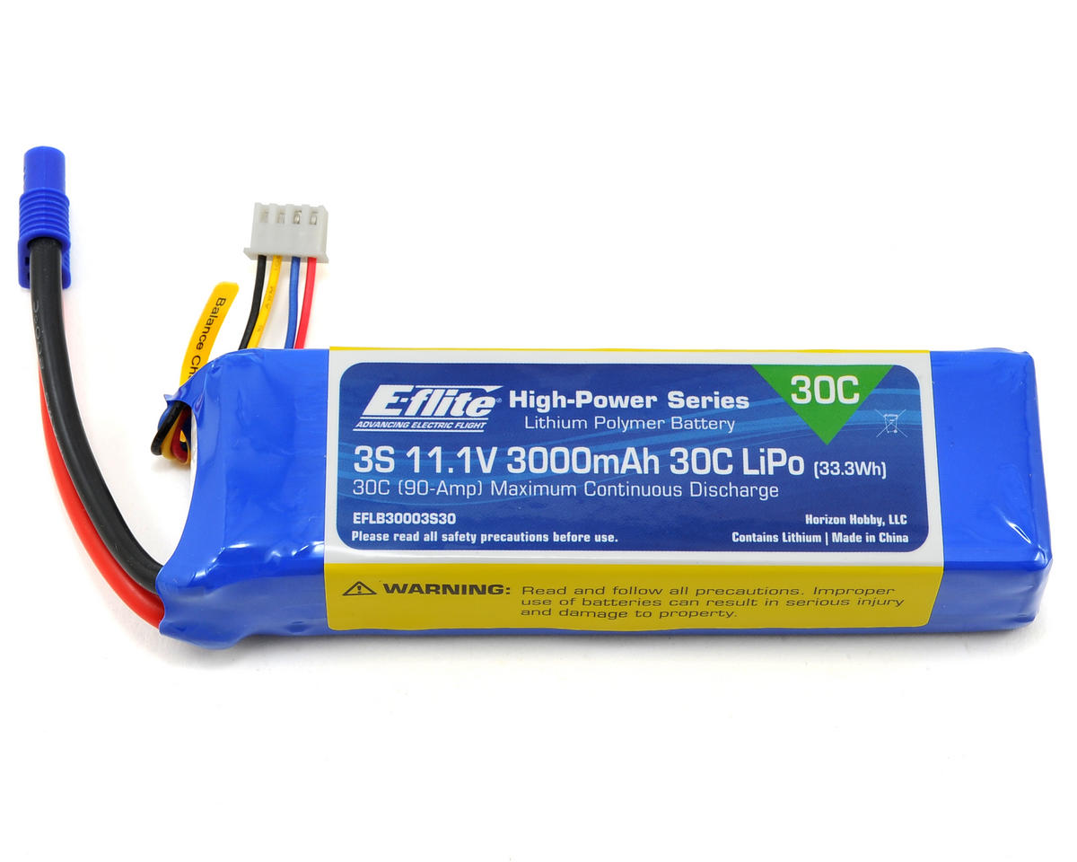 3S LiPo Battery Pack 30C (11.1V/3000mAh) by E-flite