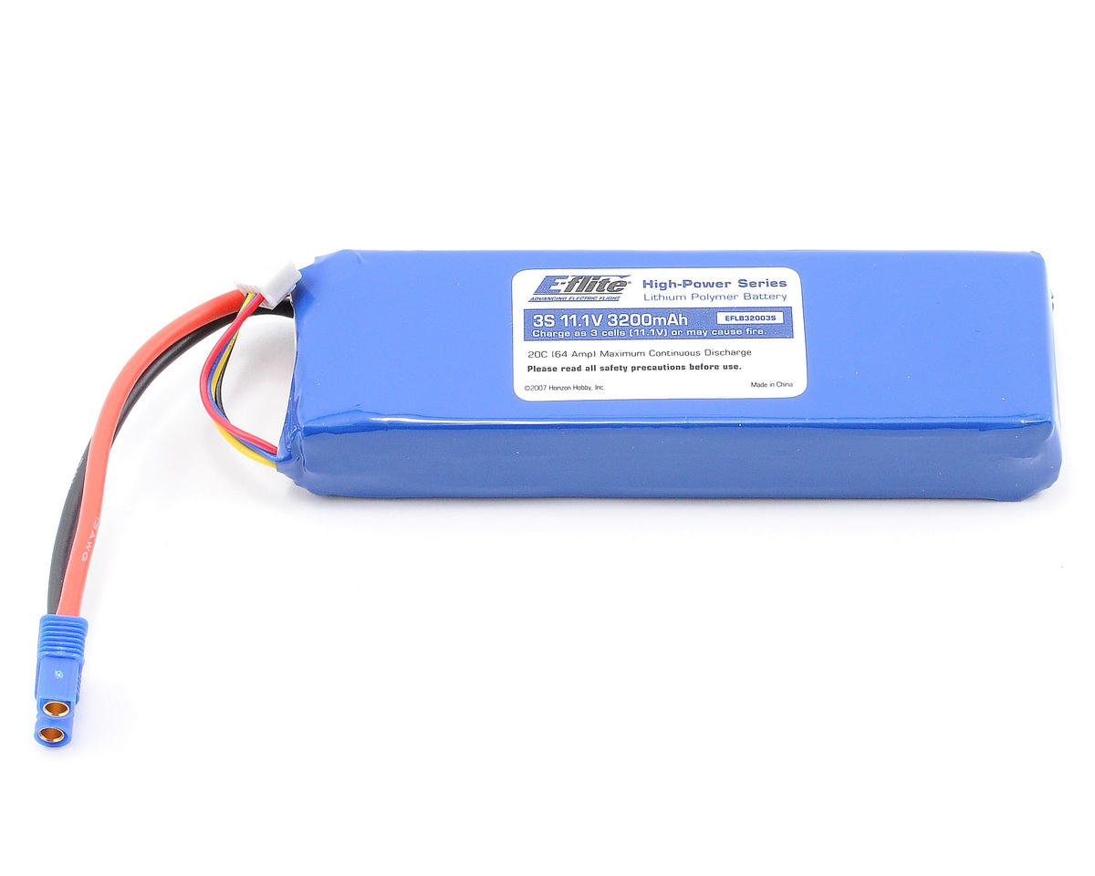 E-flite Apprentice S 15e 3S LiPo Battery Pack, EC3 Connector 20C (11.1V/3200mAh)