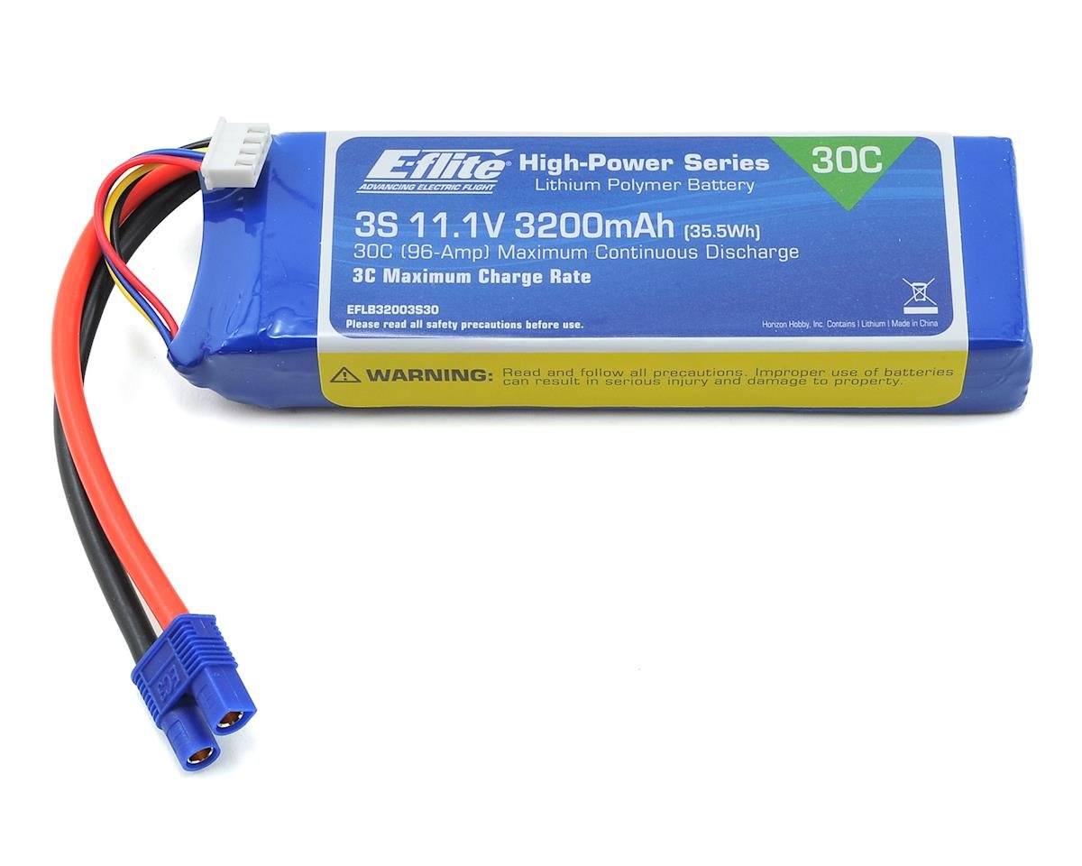3S LiPo Battery Pack 30C w/EC3 Connector (11.1V/3200mAh) by E-flite