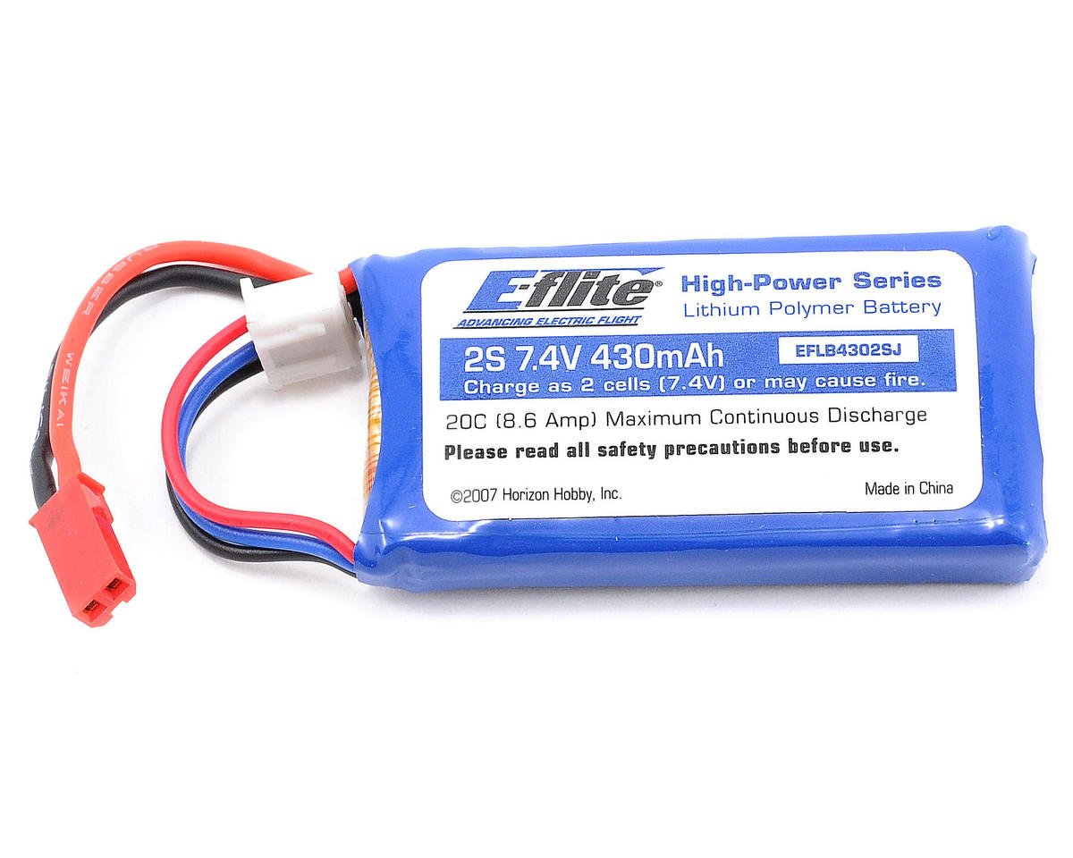 2S LiPo Battery Pack 20C (7.4V/430mAh) (JST) by E-flite