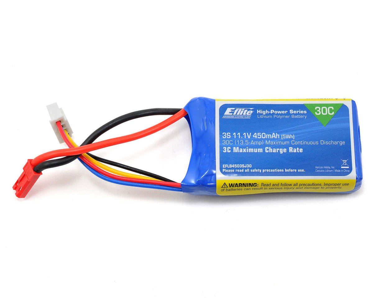 E-flite 3S LiPo Battery Pack 30C (11.1V/450mAh) (JST) (Blade Torrent 110)