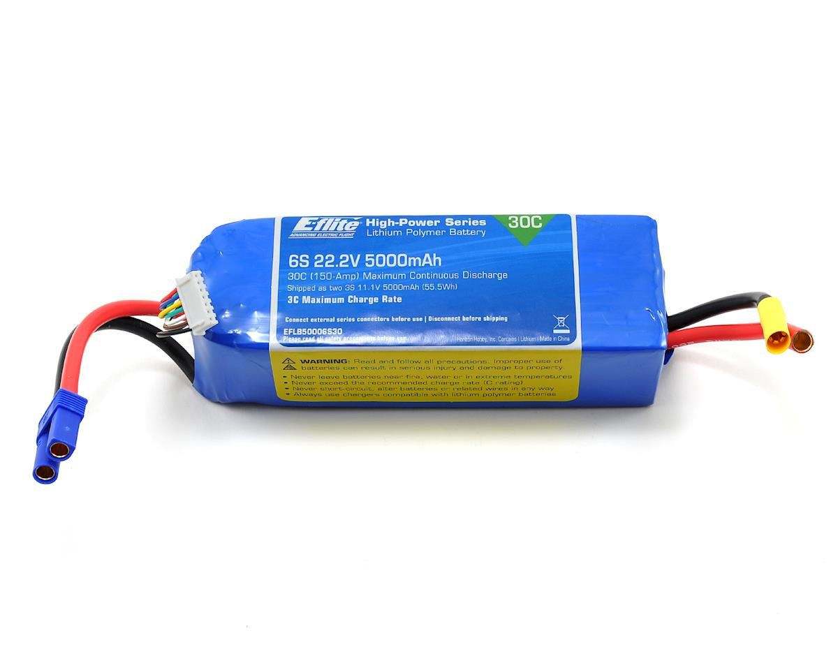E-flite 6S LiPo Battery Pack w/EC5 Connector 30C (22.2V/5000mAh)