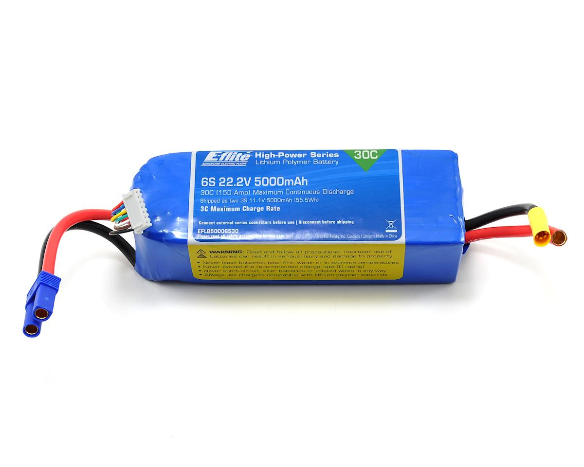 6S LiPo Battery Pack w/EC5 Connector 30C (22.2V/5000mAh) by E-flite