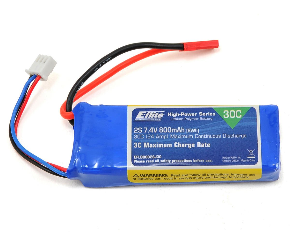 2S LiPo 30C Battery Pack w/JST Connector (7.4V/800mAh) by E-flite