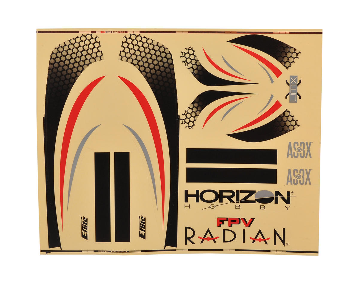 E-flite UMX FPV Radian Decal Sheet