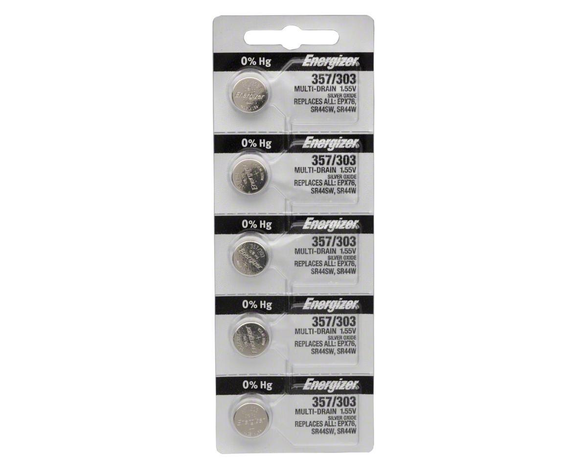 Energizer 357 / 303 Silver Oxide Multi-Drain Battery 1.55v: Card of 5