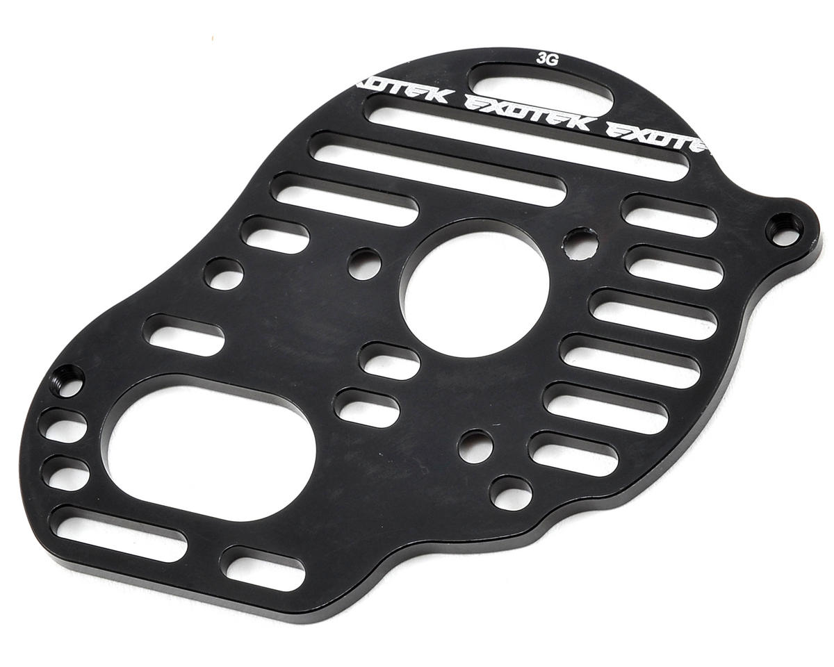 "Exotek B5M ""Flite"" Aluminum Vented Motor Plate (Black) (3-Gear)"
