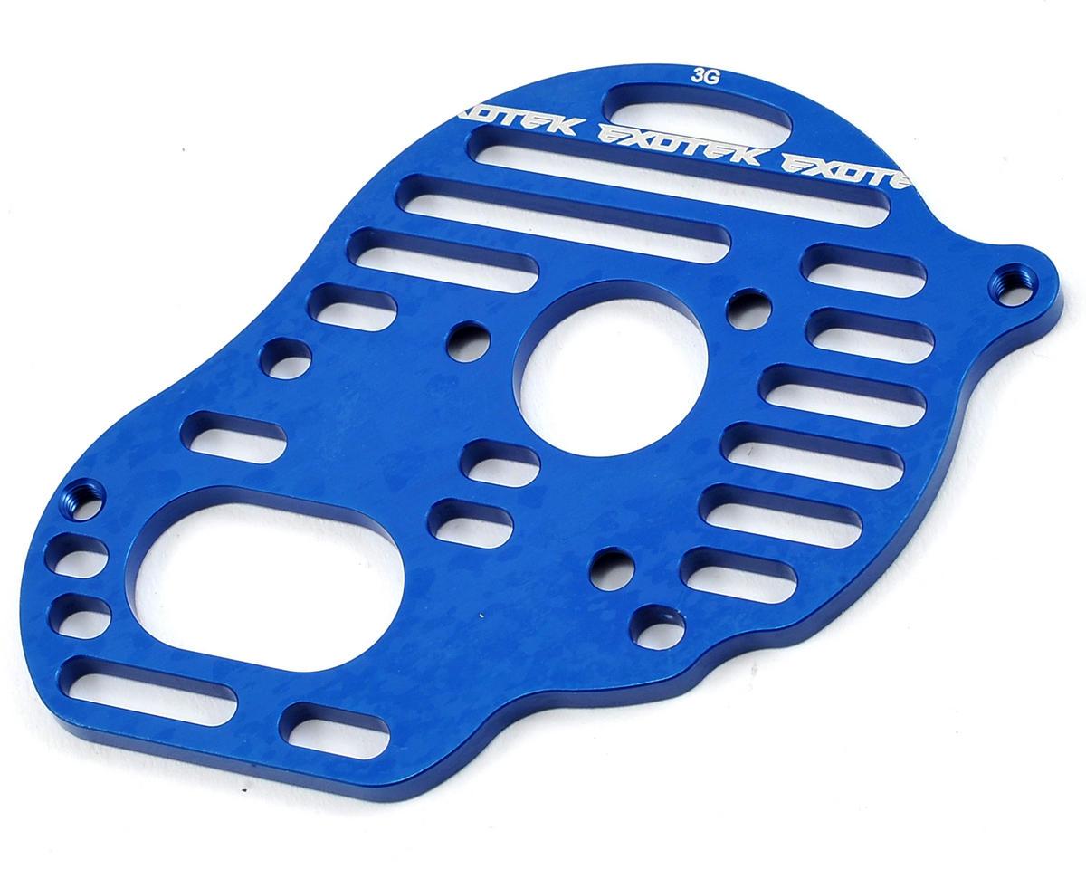 "Exotek Racing B5M ""Flite"" Aluminum Vented Motor Plate (Blue) (3-Gear)"