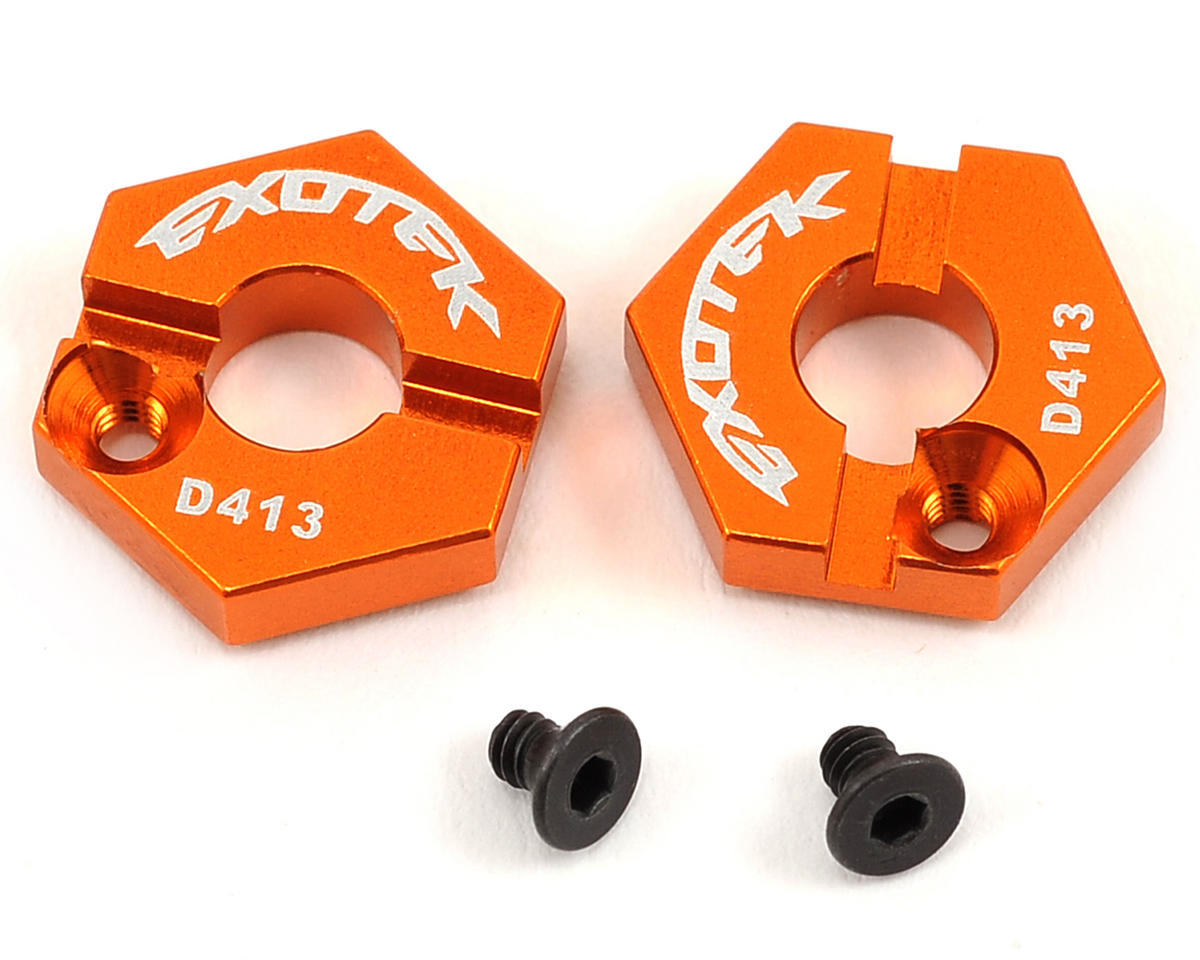 Exotek HB Racing D413 12mm Aluminum Front Locking Hex Set (Orange)