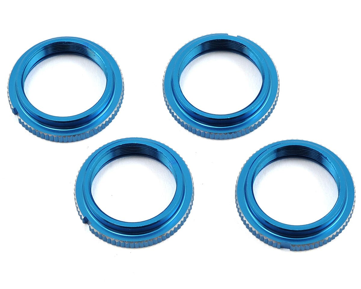 Exotek Racing 12mm Notched Threaded Spring Collar (Blue) (2)