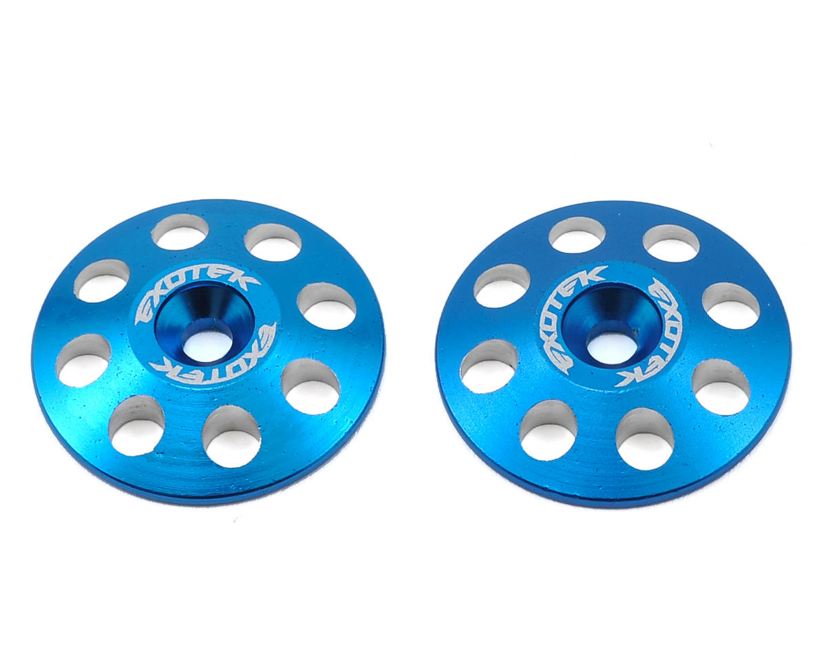 Exotek 22mm 1/8 XL Aluminum Wing Buttons (2) (Blue) (Kyosho Inferno ST-RR)