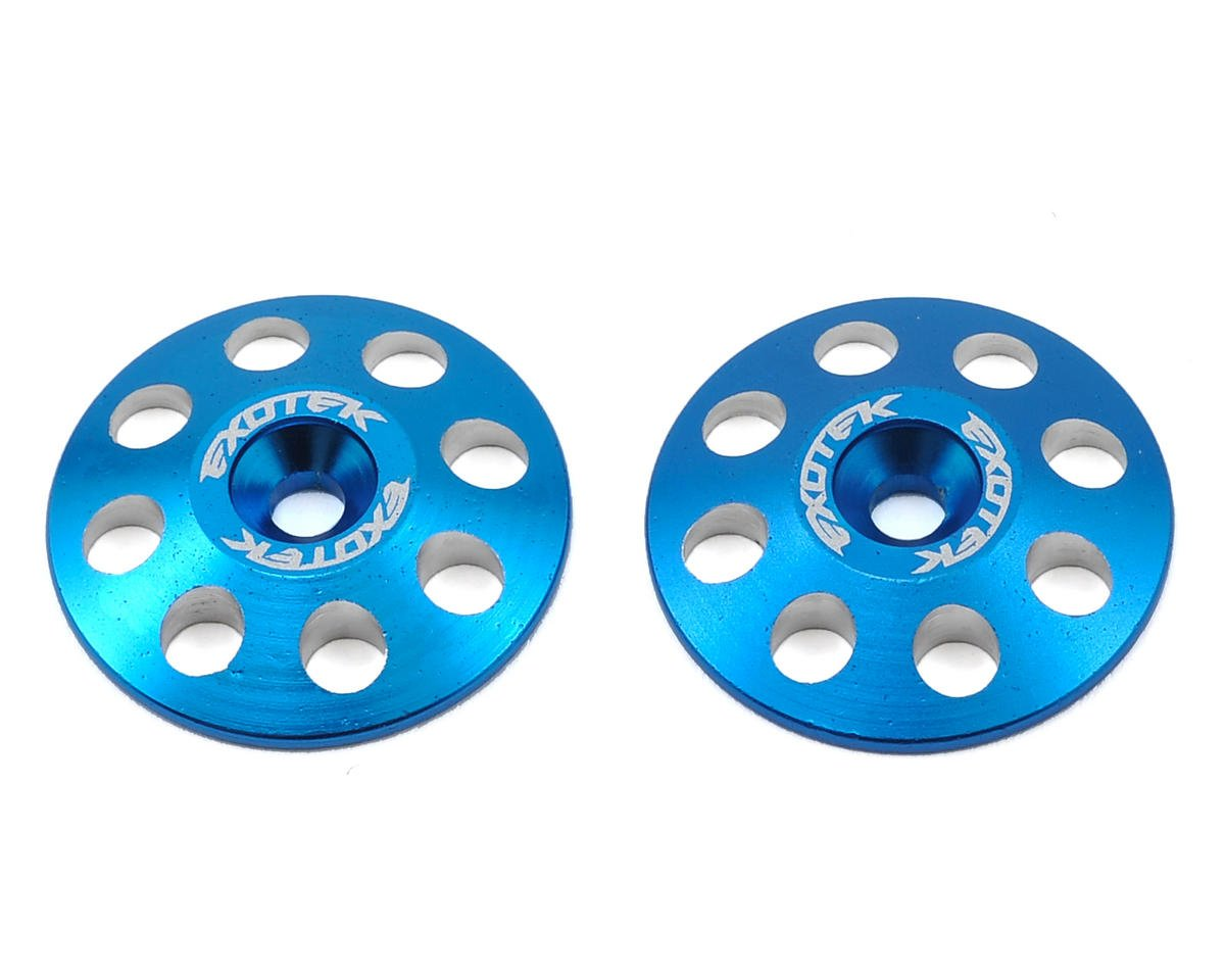 Exotek Racing 22mm 1/8 XL Aluminum Wing Buttons (2) (Blue) (RB Products RB E One)