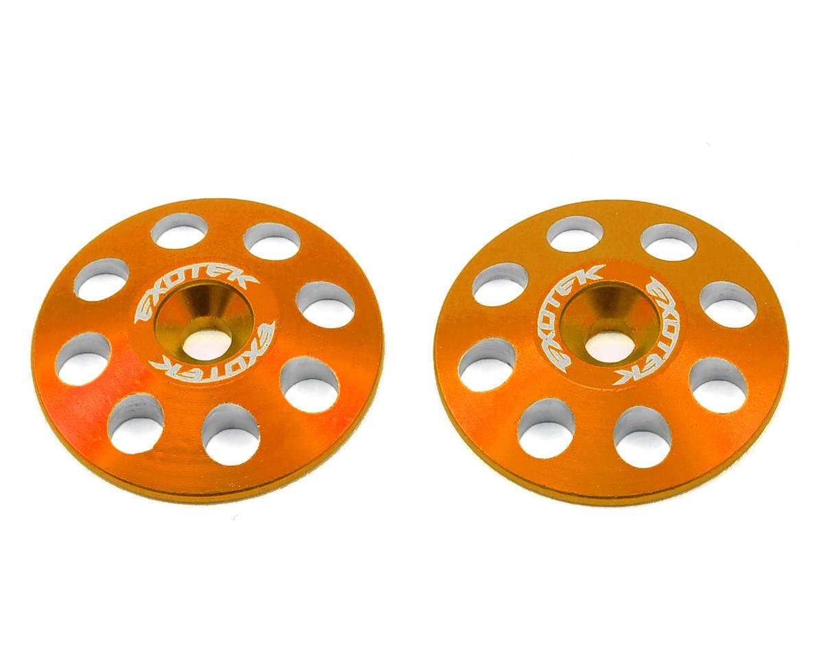22mm 1/8 XL Aluminum Wing Buttons (2) (Orange) by Exotek Racing
