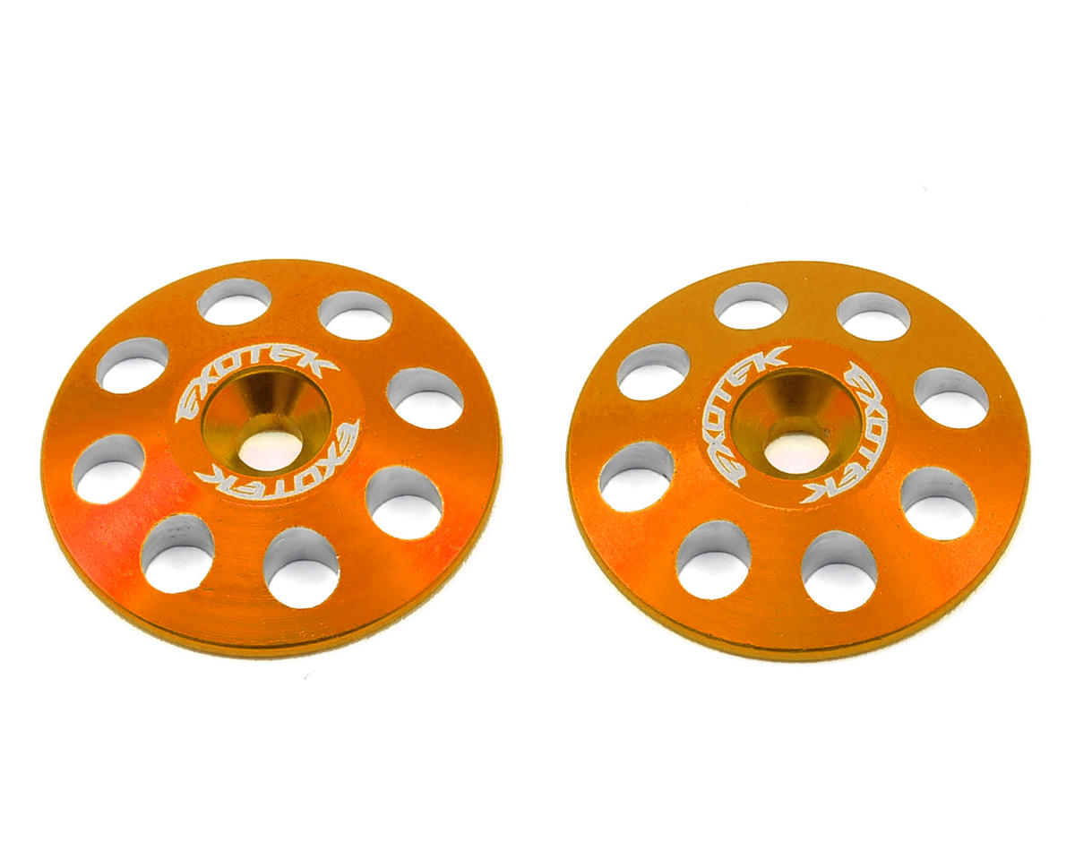 Exotek 22mm 1/8 XL Aluminum Wing Buttons (2) (Orange) (RB Products RB E One)