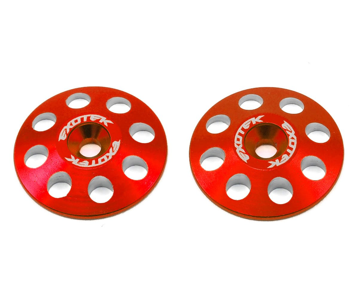 22mm 1/8 XL Aluminum Wing Buttons (2) (Red) by Exotek Racing