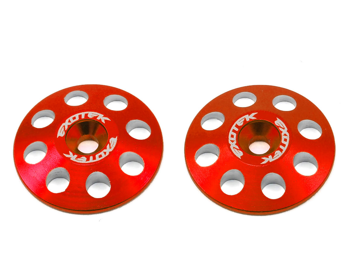 Exotek 22mm 1/8 XL Aluminum Wing Buttons (2) (Red) (Kyosho Inferno ST-RR EVO.2)
